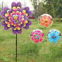 Double Layer Flower Windmill Wind Spinner Pinwheel Kids Toys Yard Garden DecES