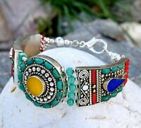Nepal Tibetan Silver Beaded Bracelet Amber Turquoise Coral Boho Ethnic Nepalese