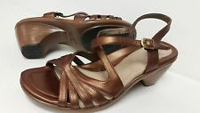 DANSKO Leather Copper Ankle Strap Buckle Strappy Heel Clog Sandals 39 8.5 9