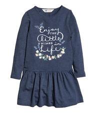 Girls H&M H M Blue Dress w/ Butterflies & Flowers, Long Sleeve, Size 8 9 10
