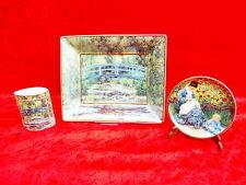 3 belles Pièces de porcelaine__Goebel___Claude Monet__bol, Vase, plaque_