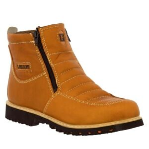 Mens Honey Brown Work Boots Rubber Sole Slip Resistant Shoes Zip Up