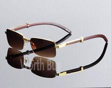 Nuevo para Hombre Mujer Retro Vintage Diseñador Gafas de Sol Moda Madera Dorado