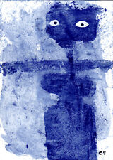 mother crow e9Art ACEO Outsider Art Brut Painting Scarecrow Fantasy Figurative