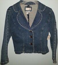 Live a Little Blue Denim Jean Jacket Girls Size S Cotton Spandex NWT Cute