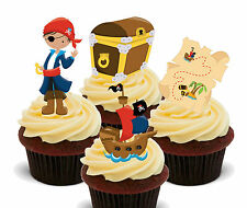 Pirate Treasure Edible Cup Cake Toppers, Standup Fairy Decorations Boy Birthday