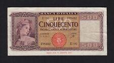 F.C. ITALIA ITALY , 500 LIRAS 1961 , MBC- ( VF ) , P.80b .