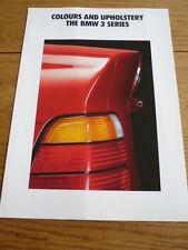 BMW 3 SERIES COLOURS AND TRIM BROCHURE 1991 92 jm