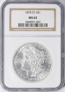 "1878-CC MORGAN SILVER DOLLAR NGC MS-63 ""GORGEOUS """
