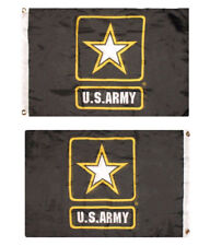 2x3 US Army Star Black 2 Faced 2ply Double Sided Poly Wind Resistant Flag 2x3ft