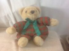 Cute Hallmark Cards Inc Plush/Beanbag Tan Bear W/Green & Red Plaid Outfit