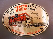 Jewish Judaica antique hotel tiberias PEER sticker israel label vintage