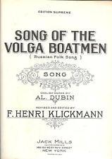 Sheet Music Song Of The Volga Boatmen 1924 Russian Folk Song