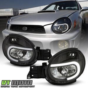 2002-2003 Subaru Impreza Outback WRX RS TS Black LED Tube Headlights Headlamps