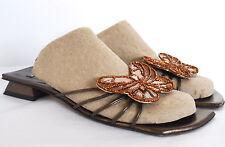 Stuart Weitzman Womens 9 AA Slides Slip On Strappy Bronze Butterfly Sandal Shoe