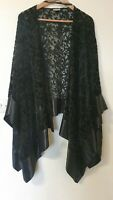 Roman Originals Lace Velvet Floral Cape Shrug Bolero Top Size L XL