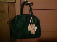OLD TREND Hand Painted Leather Vintage Hobo Satchel NWT-Vintage Green