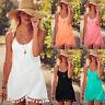 omens Summer Boho Mini Dress Ladies  Casual Beach Shorts Sun Dresses