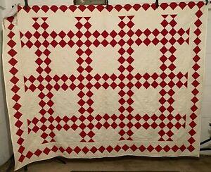 Antique Cotton Fabrics Late 1800s Turkey Red&White Irish Chain Quilt UNUSED