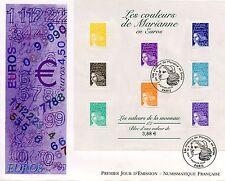 PREMIER JOUR / FDC / BLOC OBLITERE N° 44 MARIANNE EN EUROS PARIS 2002