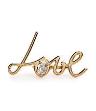 Lanvin Women's Gold 'love' Crystal Brass Two-finger Ring