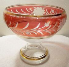 BOHEMIA CRYSTAL FOOTED BOWL/VAS MADE IN CZECHOSLOVAKIA CRANBERRY GOLD TRIM
