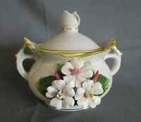 Lidded Pot with 2 Handles - Ceramic Flower Design, China - Feature Lid -