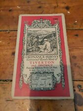 Vintage Cloth Ordnance Survey Map Of Tiverton And District