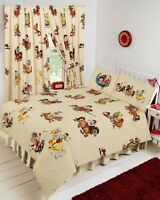 """Thelwell Cartoon Horse Pony Riding Cream 66"""" X 72"""" Unlined Pencil Pleat Curtains"""