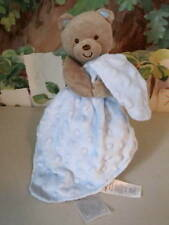 CaRTeRS BLuE MINKY DOT PLuSH BaBy SeCuRiTy BLaNKeT TAN BEAR RaTTLe *EXCeLLeNT