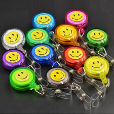 20pcs Retractable Nurses Teacher ID Card Badge Holder Reels W/ Clip Smiling Face