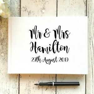 PERSONALISED WEDDING GUEST BOOK A5/A4 TYPOGRAPHY/CALLIGRAPHY GOLD/SILVER/BLACK