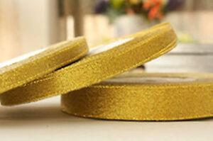 Organza 6mm Gold Glitter Ribbon Craft - 3 Rolls x 25 Yards each -Limited Offer