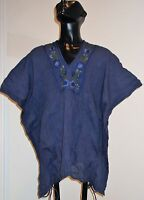 Sacred Threads Navy Cotton Embroidery Hippie Boho Gypsy Peasant Poncho Top SM