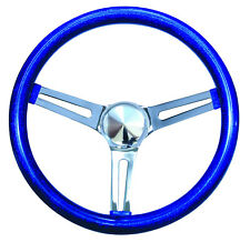 "13"" Mooneyes California 3-Spoke Slot Steering Wheel Blue Metal Flake GS260CMBL"