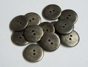 Pack of 10 Pewter Colour 18mm 2 Hole Button 0017