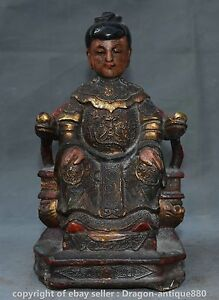 "8.8"" Rare Old China Lacquerware Feng Shui Queen Mother Goddess of Heaven Statue"
