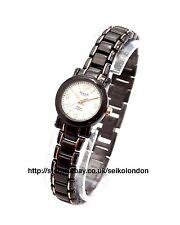 Omax Mujer Dial Blanco Reloj, negro / Rosa Acabado, Seiko (Japón) movimiento