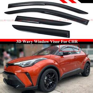 FOR 17-2021 TOYOTA CHR C-HR JDM 3D WAVY SMOKED WINDOW VISOR RAIN GUARD DEFLECTOR
