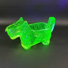 GREEN GLASS Scottie Dog CREAMER Glows under Blacklight Scottish Terrier Scotty