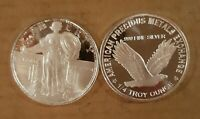 STANDING LIBERTY + Eagle 1/4 oz Proof Silver Round~BUY IT NOW~SHIP FREE