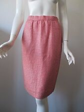 Vintage Burberrys Made in England Red Ivory Plaid Wool Silk Pencil Skirt 4