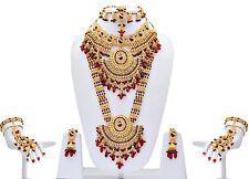 Bollywood Indian Fashion Ethnic Maroon Bridal Jewelry Wedding Necklace Set