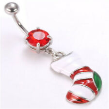 Christmas Stocking Red Gem Belly Ring Navel Naval(w843)