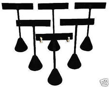 """6 Piece Earring T-Bar Jewelry Displays Stand Black Velvet Covered 4 3/4"""" Tall"""