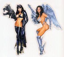 SEXY GIRLS BRUNETTE MACHINE GUN LATEX BLACK LEATHER  BDSM STICKER/DECAL SET
