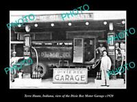 OLD POSTCARD SIZE PHOTO OF TERRE HAUTE INDIANA THE DIXIE BEE MOTOR GARAGE 1920