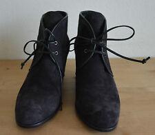New $498 Stuart Weitzman Kalahari Lace Up Wdge Suede Booties Boots Black 37.5