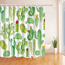 """Cactus Plant Watercolor Waterproof Fabric Bathroom Shower Curtain With Hooks 71"""""""