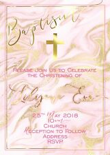 Christening Baptism Watercolour Pink And Gold Digital Invitation - Print At Home